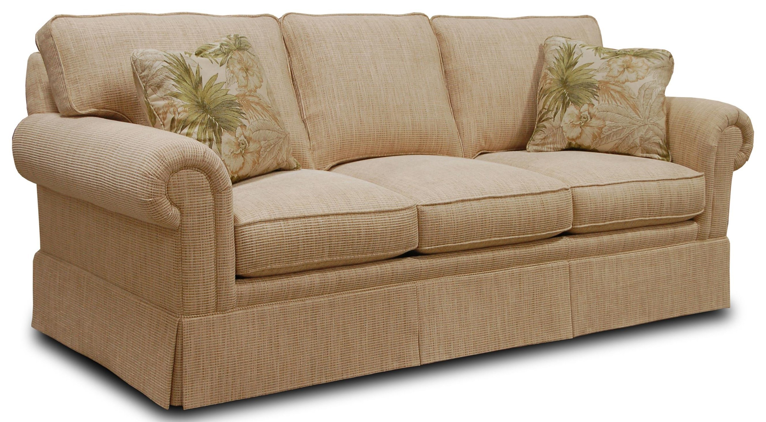 Traditional Sleep Sofa With Loose Back Cushions And Rolled Arms By Sherrill  At Baeru0027s Furniture