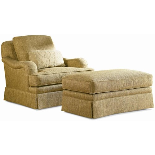 sherrill traditional loose back swivel chair ottoman with skirt
