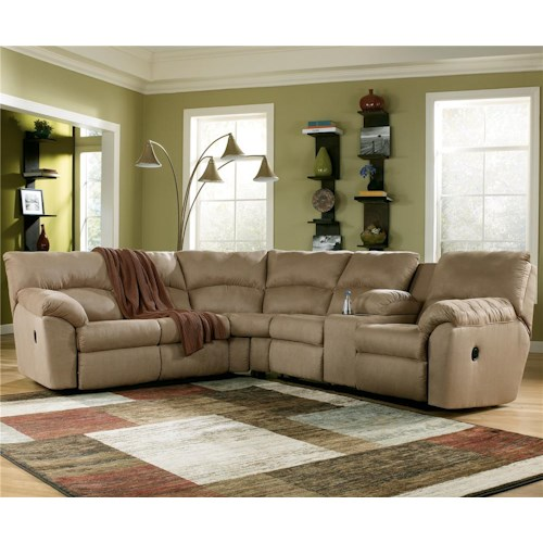 Signature Design by Ashley Furniture Amazon - Mocha Casual L-Shaped Sectional Sofa with Pillow Arms