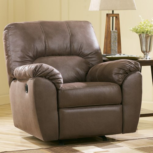 Signature Design by Ashley Amazon - Walnut Casual Rocker Recliner with Pillow Arms