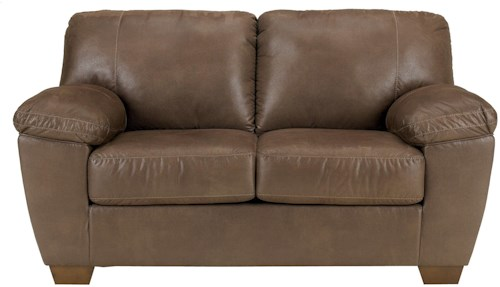 Signature Design by Ashley Amazon - Walnut Loveseat with Pillow Arms