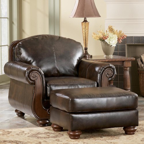 Signature Design by Ashley Barcelona - Antique Traditional Chair & Ottoman