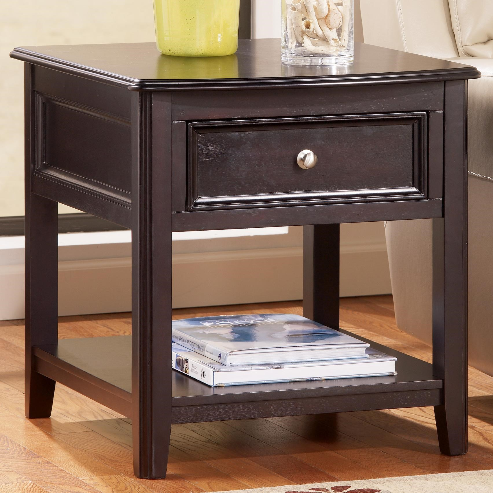 Signature Design By Ashley Carlyle Rectangular End Table With Drawer And  Bottom Shelf
