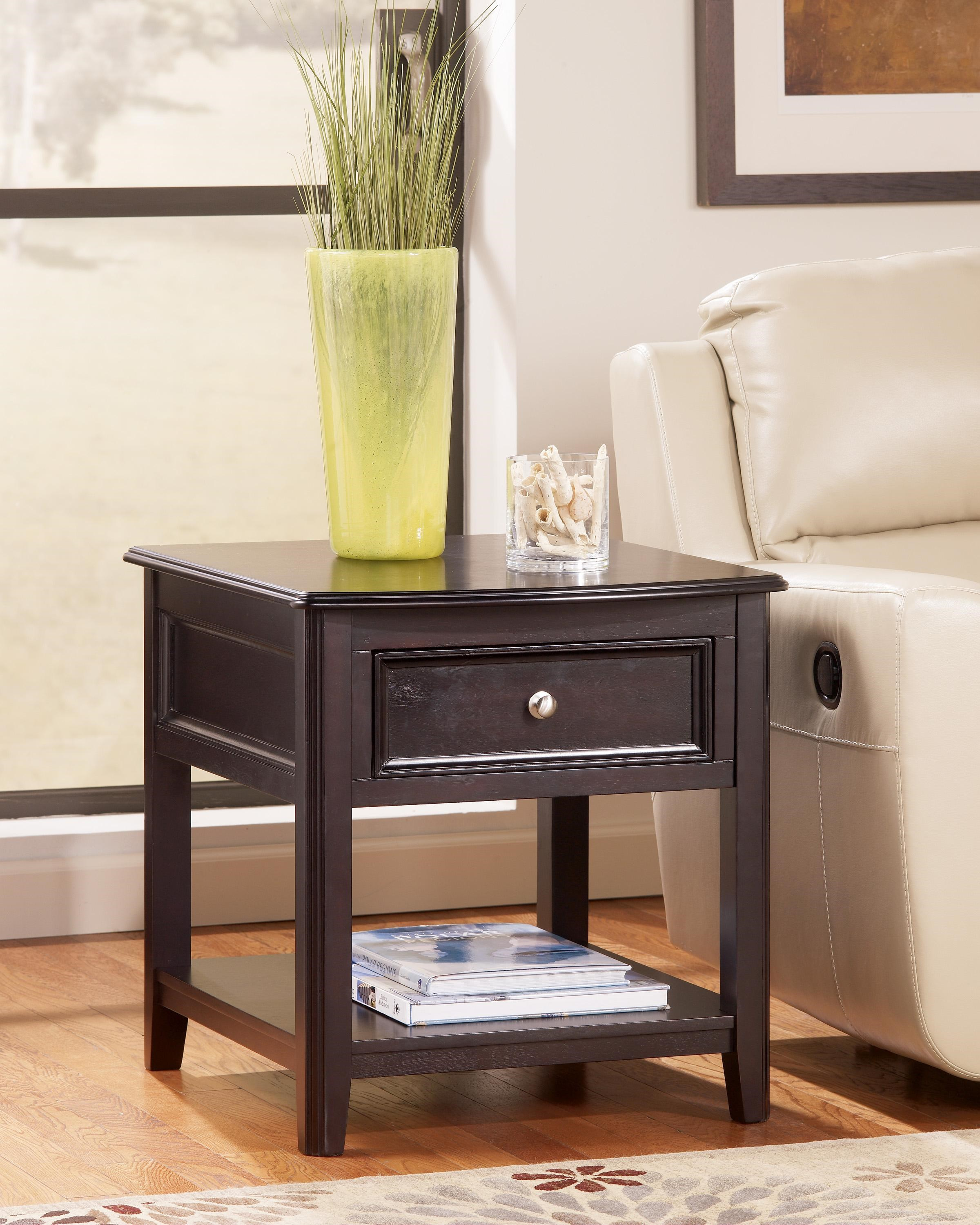 Carlyle T771 3 Rectangular End Table With Drawer And Bottom Shelf By  Signature Design By Ashley