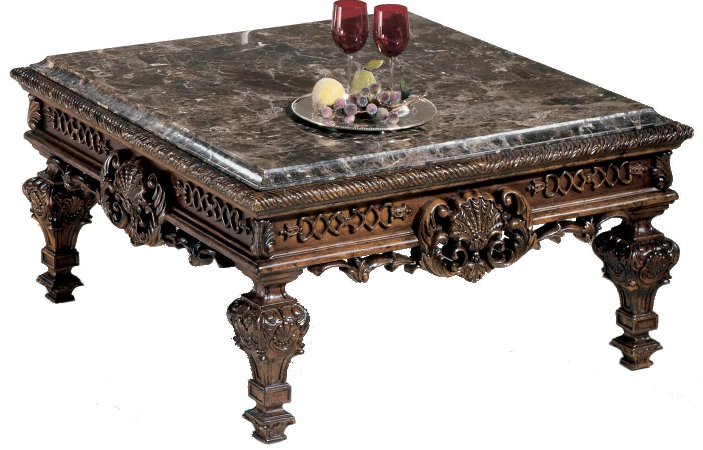 Nice Signature Design By Ashley Casa Mollino Ornate Square Cocktail Table With  Stone Top