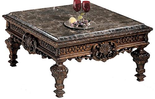 Signature Design by Ashley Casa Mollino Ornate Square Cocktail Table with Stone Top