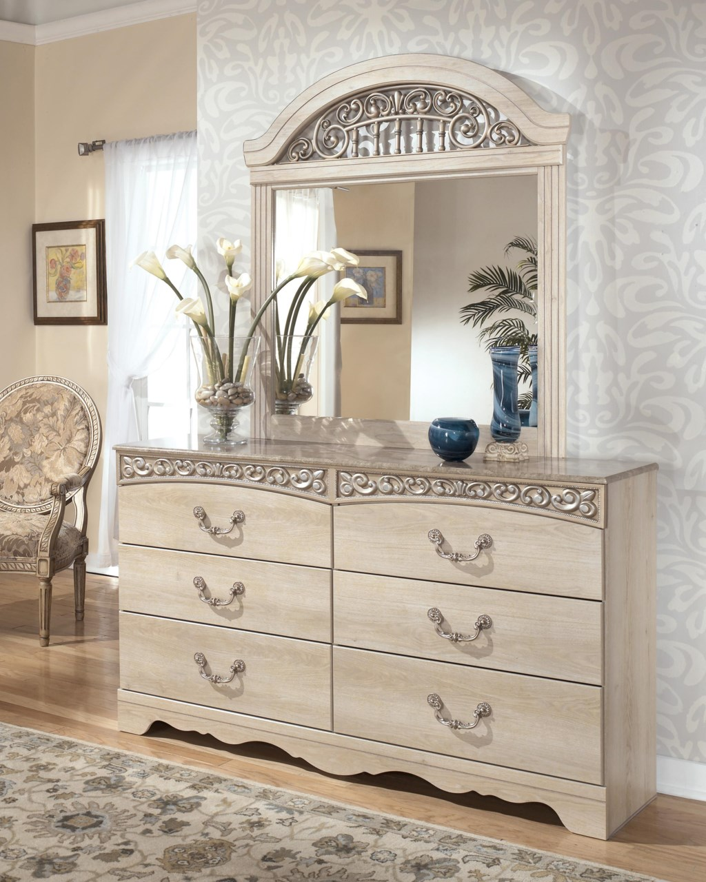 Signature Design By Ashley Catalina Six Drawer Dresser And Mirror