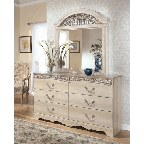 Signature Design by Ashley Catalina Six-Drawer Dresser and Mirror with Ornate Crown