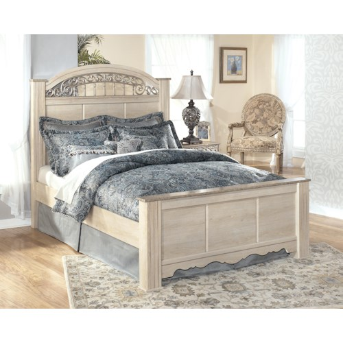 Signature Design by Ashley Catalina King-Size Poster Bed with Ornate Headboard Insert