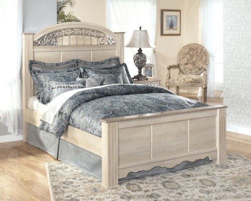 Signature Design by Ashley Catalina Queen-Size Poster Bed with Ornate Headboard Insert