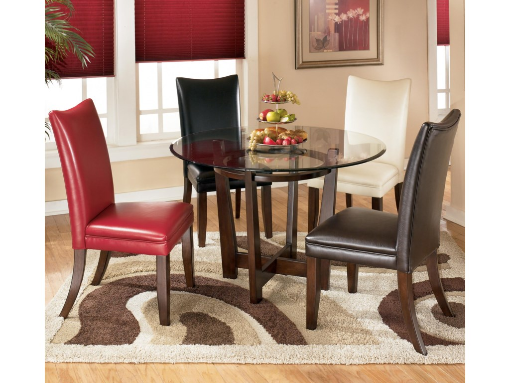 Shown as Multicolor Dining Set with 4 Multicolor Upholstered Dining Chairs