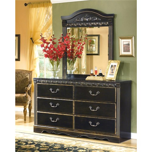 Signature Design by Ashley Coal Creek 6 Drawer Dresser and Mirror