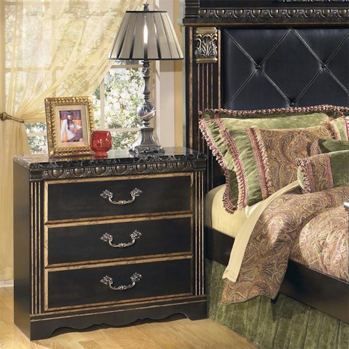 Signature Design by Ashley Coal Creek 3 Drawer Night Stand with Faux Marble Top