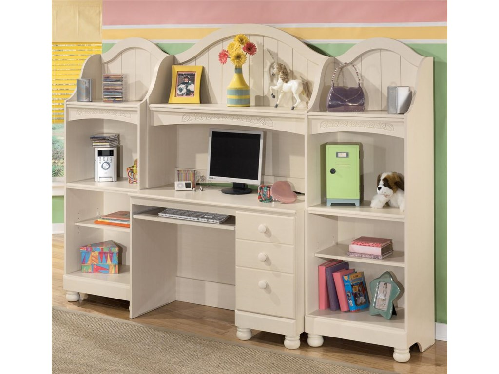 Two Bookshelves Shown with Desk & Hutch
