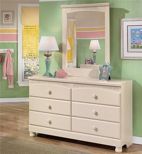 Signature Design by Ashley Cottage Retreat 6 Drawer Dresser and Mirror