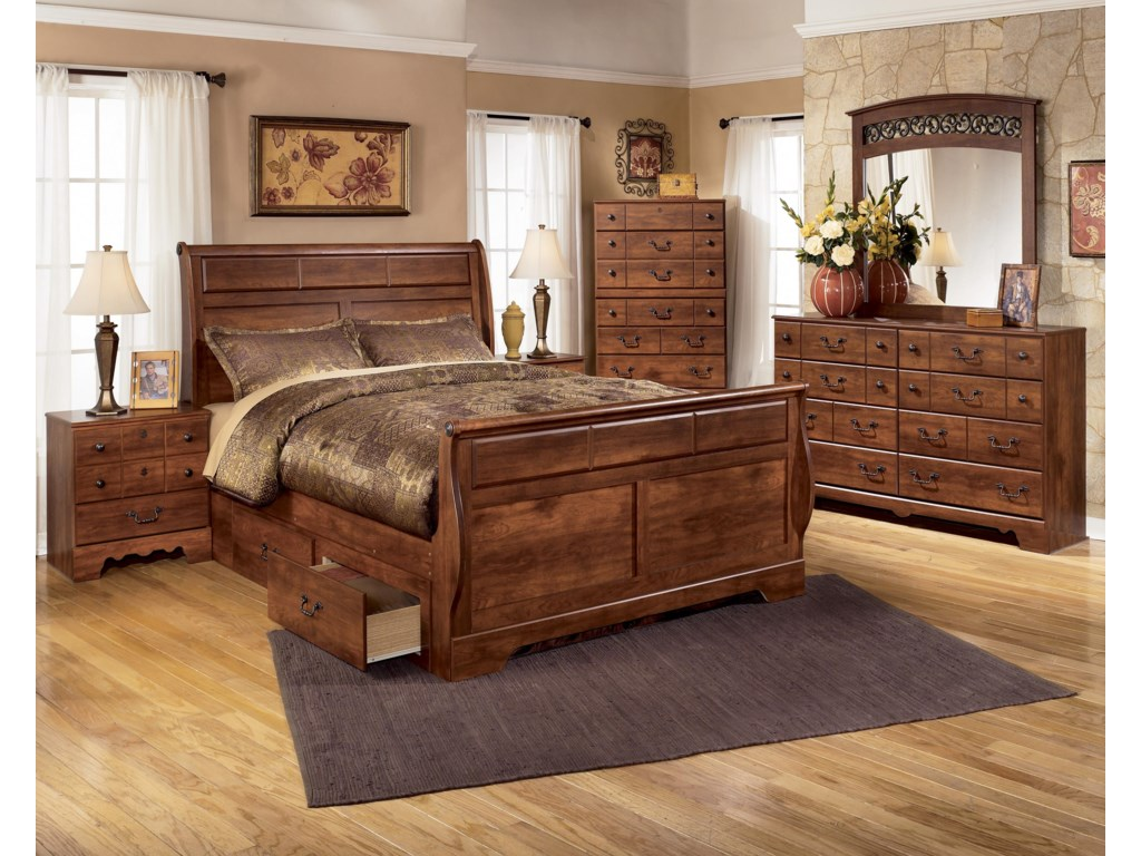 Ashley (Signature Design) TimberlineQueen Sleigh Bed with Storage