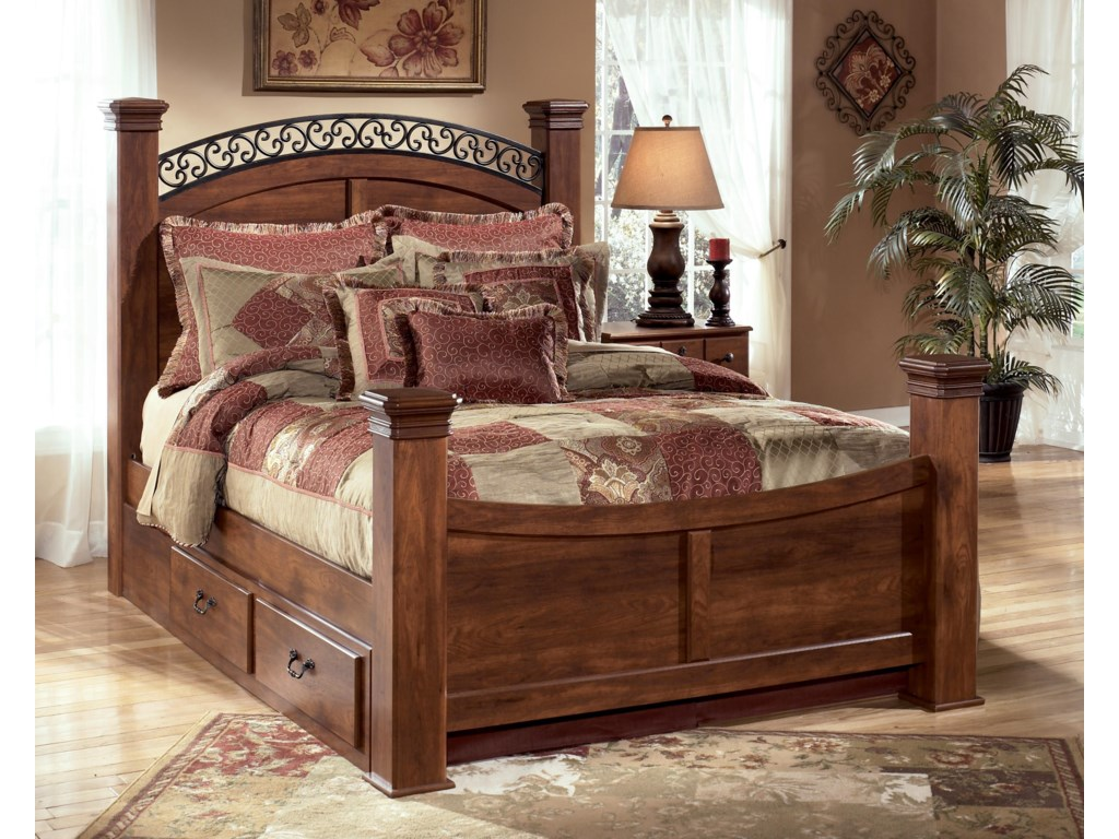 Del Sol AS TimberlineQueen Poster Bed with Storage