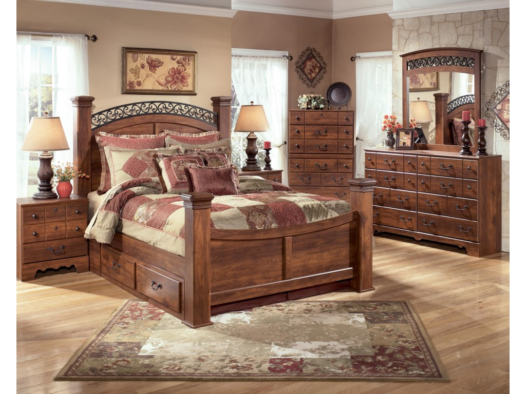 Signature Design by Ashley TimberlineKing Poster Bed with Storage