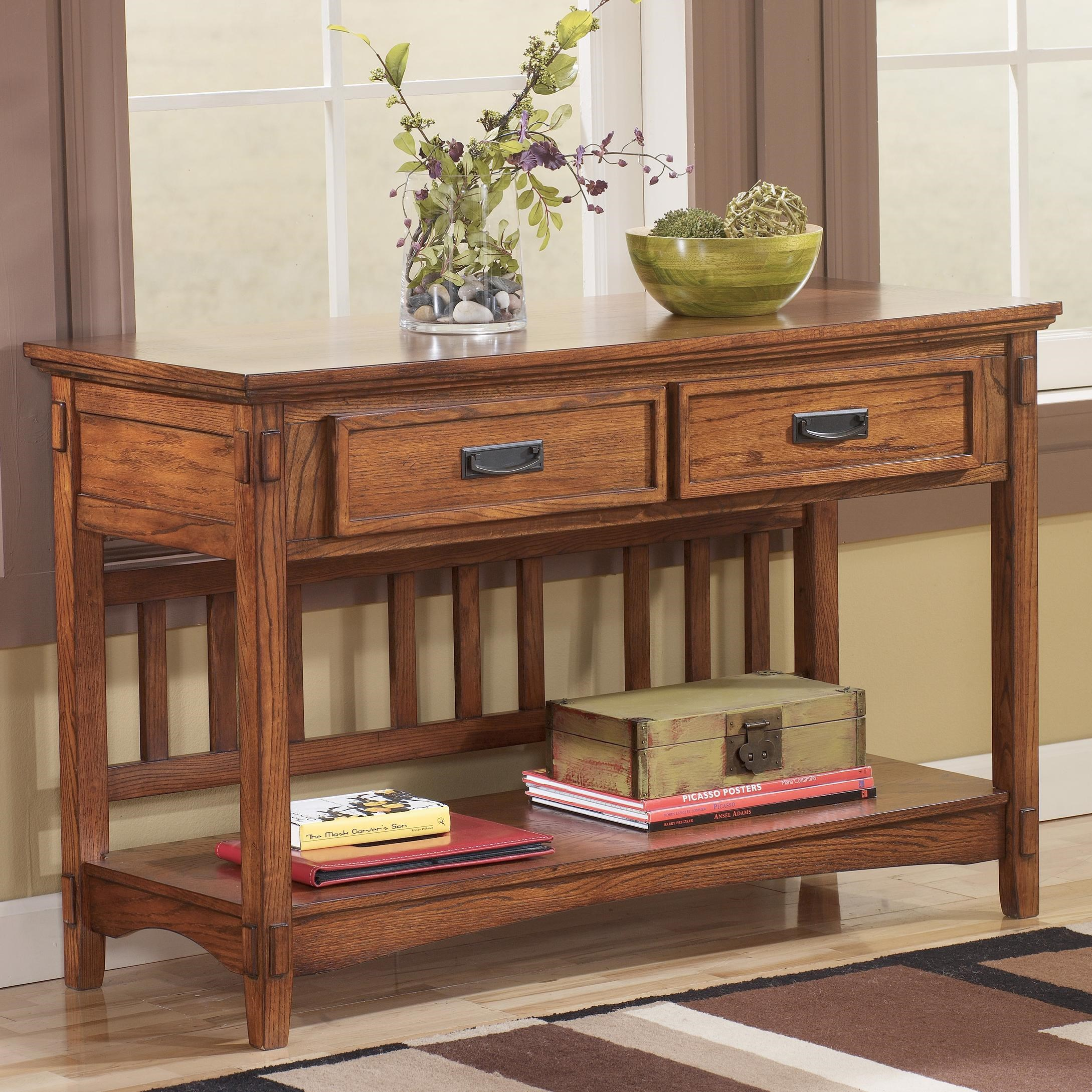 Signature Design By Ashley Cross Island Mission Sofa/Console Table   Becker  Furniture World   Sofa Table