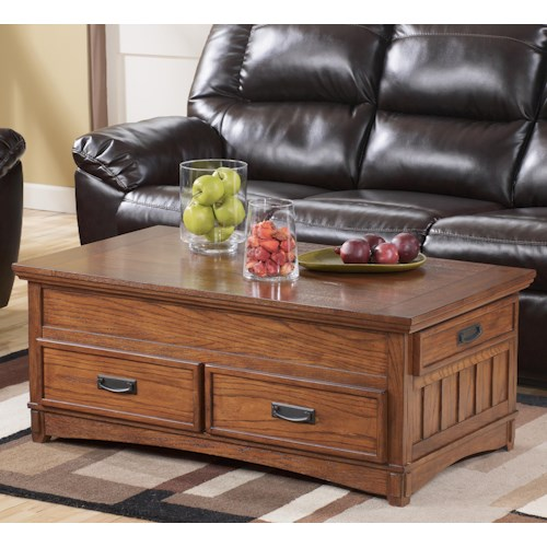 Signature Design By Ashley Cross Island Mission Rectangular Storage Lift Top Tail Table Casters