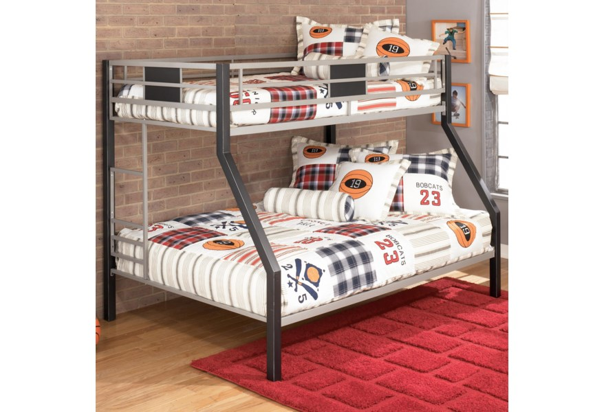 Signature Design Dinsmore Twin Over Full Metal Bunk Bed Fisher Home Furnishings Bunk Beds