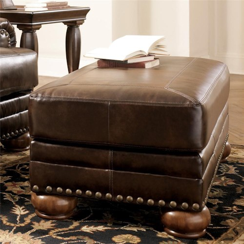 Signature Design by Ashley Chaling DuraBlend® - Antique Traditional Ottoman with Nail Head Trim