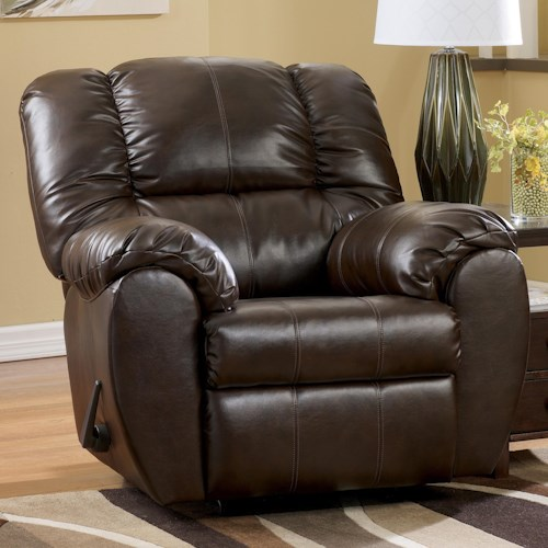Signature Design By Ashley Dylan Durablend Espresso Bonded Leather Match Rocker Recliner
