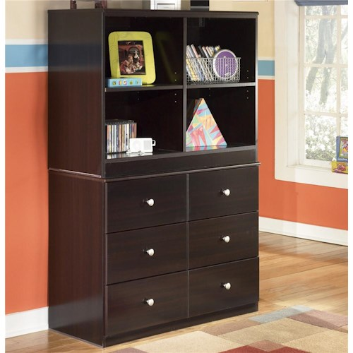 Signature Design by Ashley Embrace 6 Drawer Chest and Open Bookcase