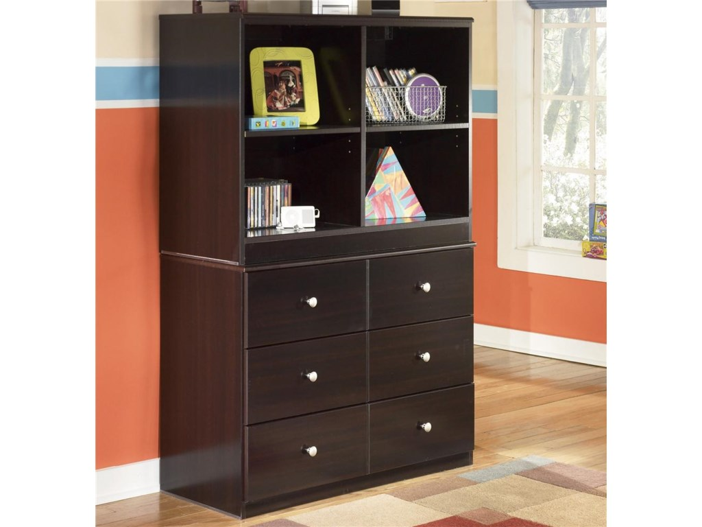 Signature Design by Ashley Embrace6 Drawer Chest and Open Bookcase