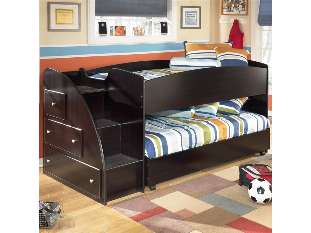 Signature Design by Ashley Embrace Twin Loft Bed with Caster Bed and ...