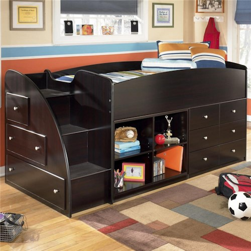 Signature Design by Ashley Embrace Twin Loft Bed with Left Storage Steps, Bookcase & Chest