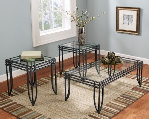 Signature Design by Ashley Exeter 3-in-1 Cocktail Table and 2 End Table Occasional Group