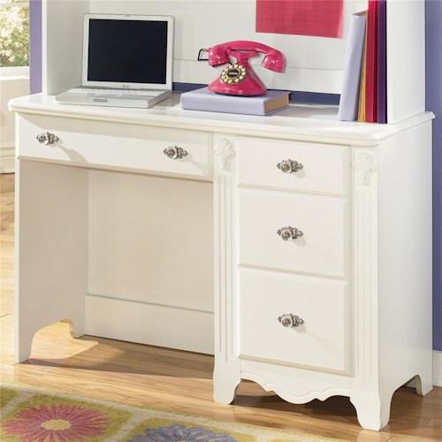 Signature Design by Ashley Exquisite Single Pedestal Antique Styled 4 Drawer Child's Desk