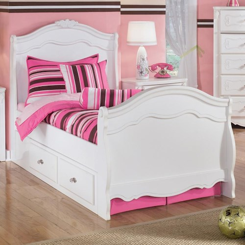 Signature Design by Ashley Exquisite Twin Sleigh Bed with Under Bed Storage