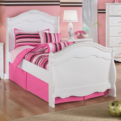 Signature Design by Ashley Exquisite Twin Sleigh Bed with French Inspired Mouldings