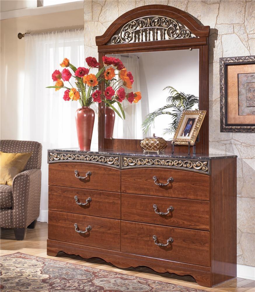 Signature Design By Ashley Fairbrooks Estate 6 Drawer Dresser Vertical Mirror