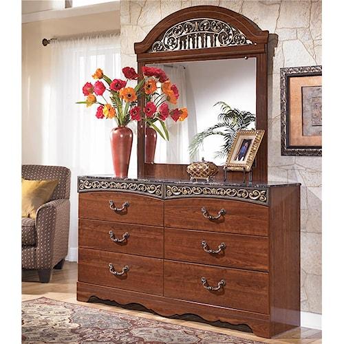 Signature Design by Ashley Fairbrooks Estate 6 Drawer Dresser & Vertical Mirror