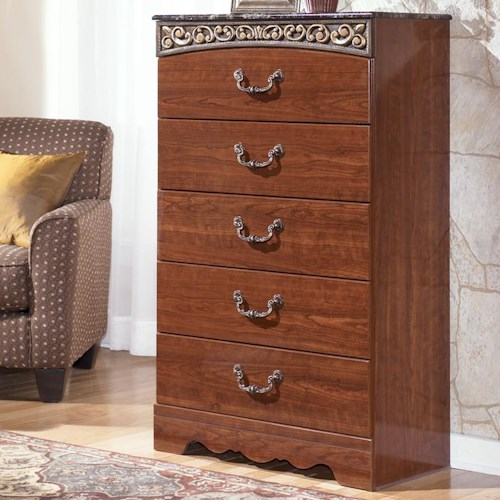 Signature Design by Ashley Brookfield 5 Drawer Chest with Decorative Frieze and Faux Stone Top