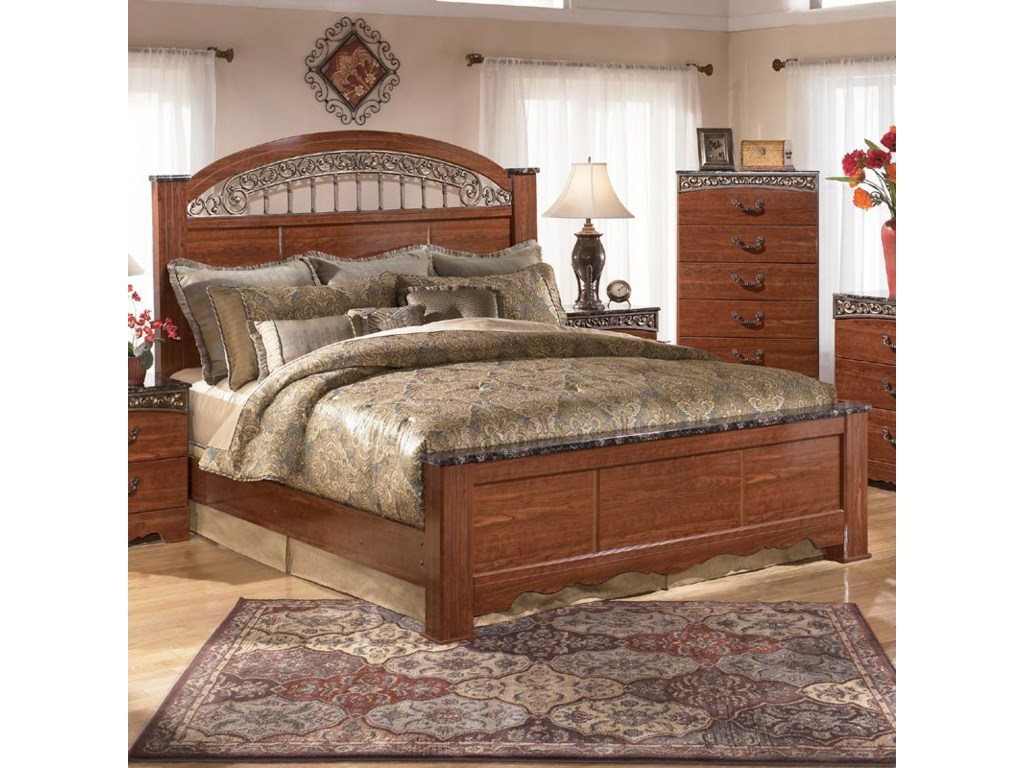 sets cortinella dark br bedroom king wood rm bed cherry poster pc product