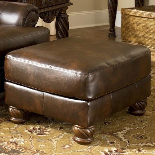 Signature Design by Ashley Fresco DuraBlend - Antique Traditional Accent Ottoman with Bun Feet