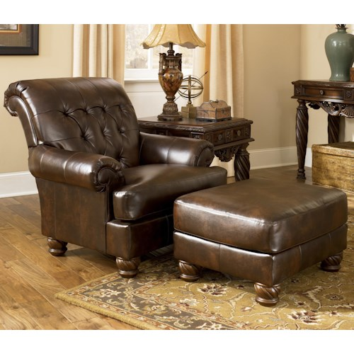Signature Design by Ashley Fresco DuraBlend - Antique Traditional Upholstered Chair and Ottoman with Bun Feet