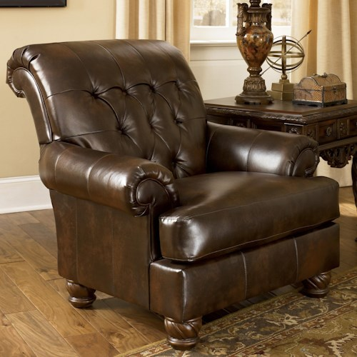 Signature Design by Ashley Fresco DuraBlend - Antique Traditional Accent Chair with Tufted Back and Bun Feet