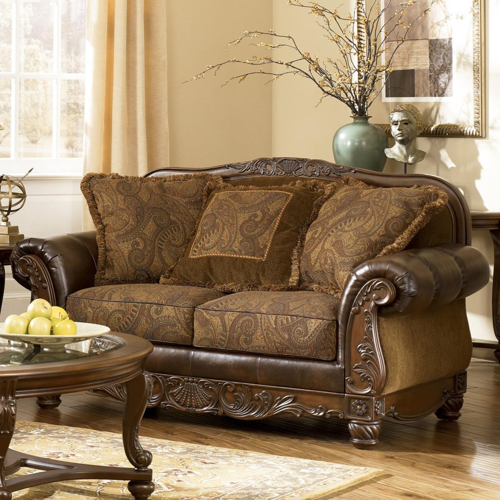 Fresco durablend antique traditional stationary loveseat with bun wood feet by signature design by ashley