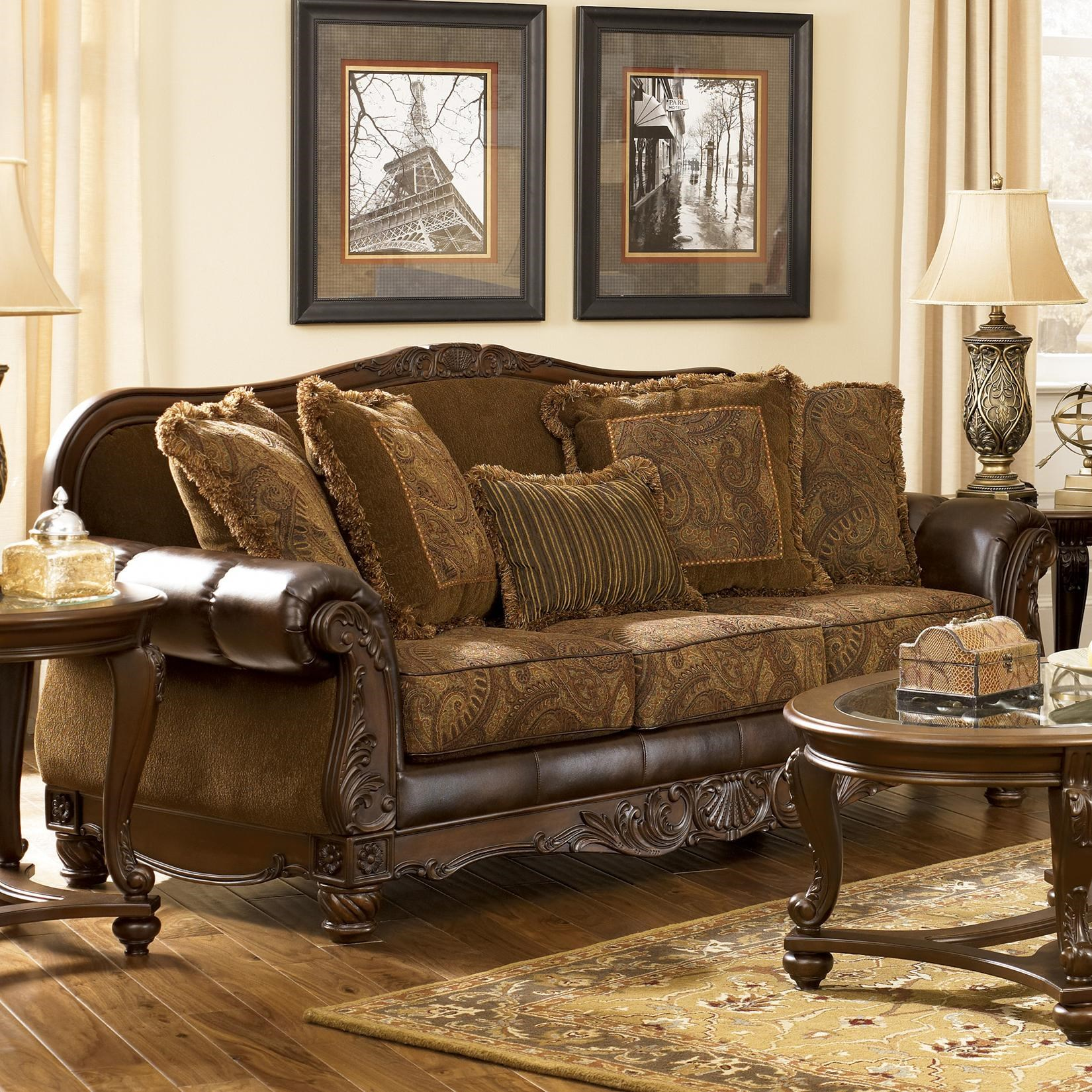 Signature Design By Ashley Fresco DuraBlend   Antique Traditional  Stationary Sofa With Rolled Arms   Royal Furniture   Sofa