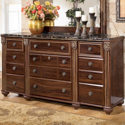 Signature Design by Ashley Gabriela 9 Drawer Traditional Dresser with Marbled Top