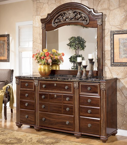 Signature Design by Ashley Gabriela Traditional 9 Drawer Dresser with Mirror