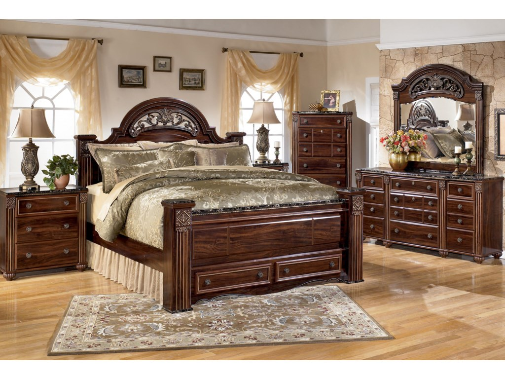 Shown with Night Stand, King Poster Storage Bed, Chest and Dresser