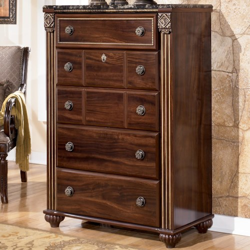 Signature Design by Ashley Gabriela Chest with 5 Drawers and Marbled Top