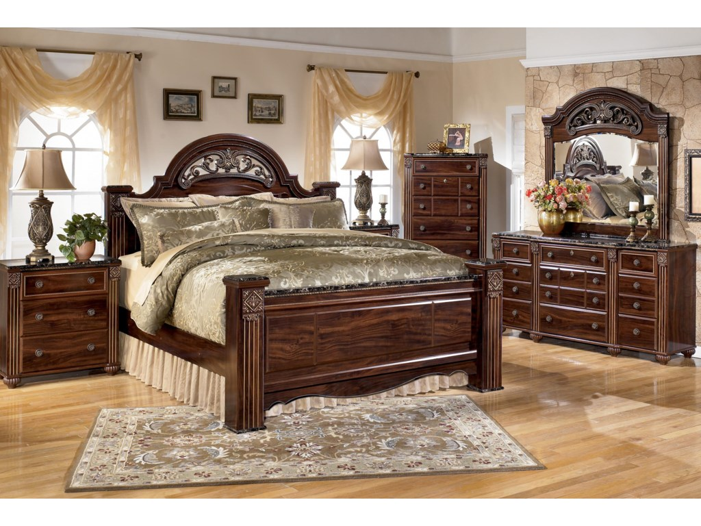 Shown with Night Stand, King Poster Bed and Dresser with Mirror