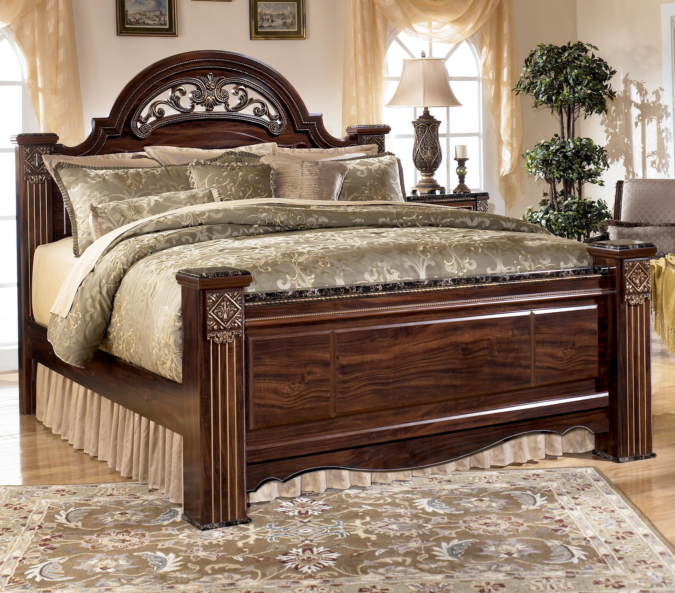 ashley traditional bedroom furniture canopy signature design by ashley gabriela traditional queen poster bed with faux marble detail